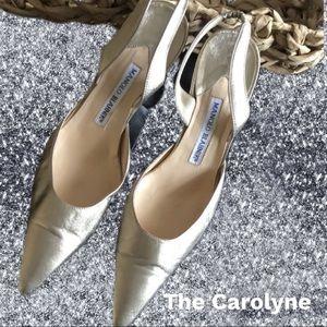 EUC Manolo Blahnik 'The Carolyne' in Metallic Gold